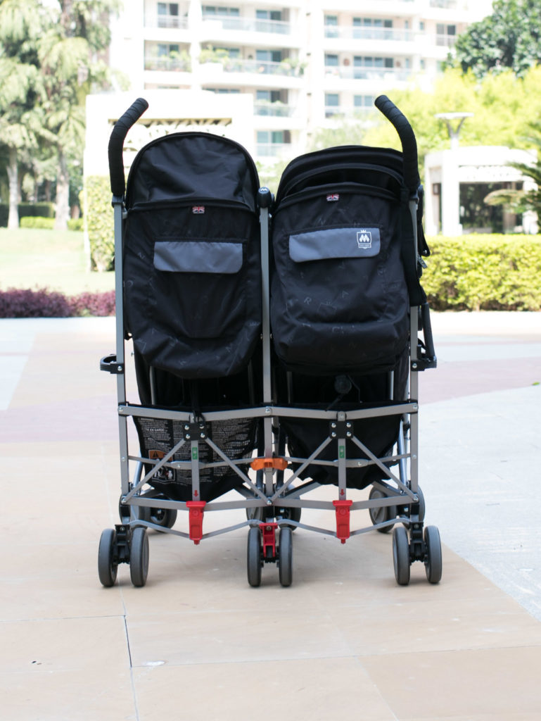 Back of Macalren Twin Triumph Stroller. Large storage space underneath. This is the best double stroller to fly with.