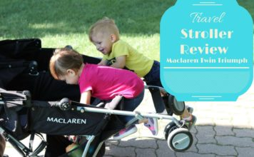 Twin 1 year old toddlers have with the twin triumph by Maclaren while on a travel adventure.
