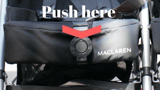 infographic on how to release stroller clip on Maclaren Twin Triumph double umbrella stroller.
