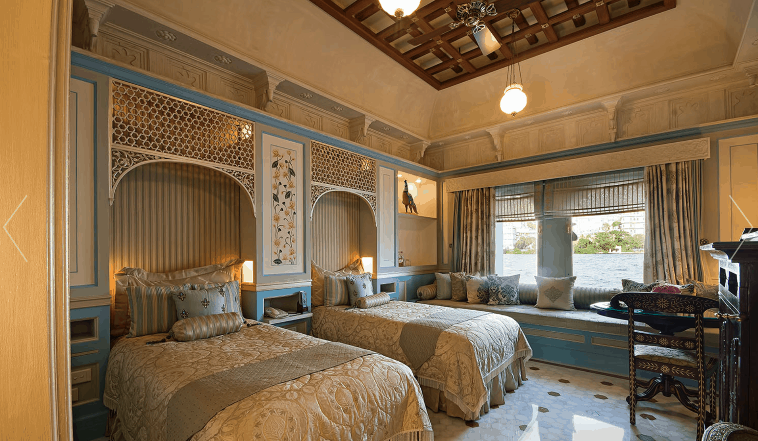Interior shot of a two bed suite at the Taj Lake palace. Floating palace in Udaipur.