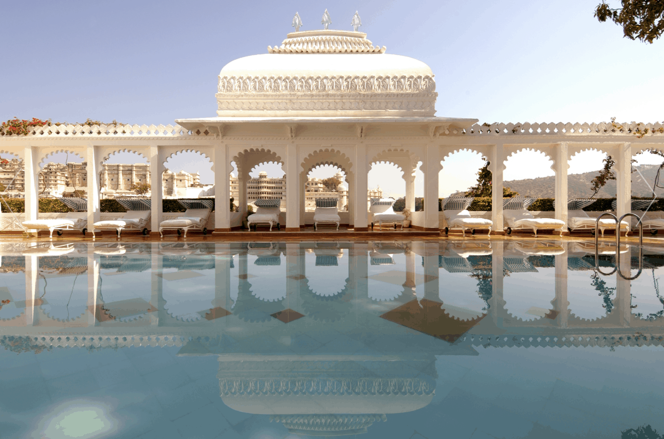 Luxurious pool at the Taj Lake palace.