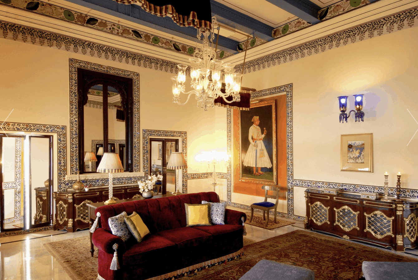 Photo of a suite interior at the Lake Palace Udaipur a restored floating palace.
