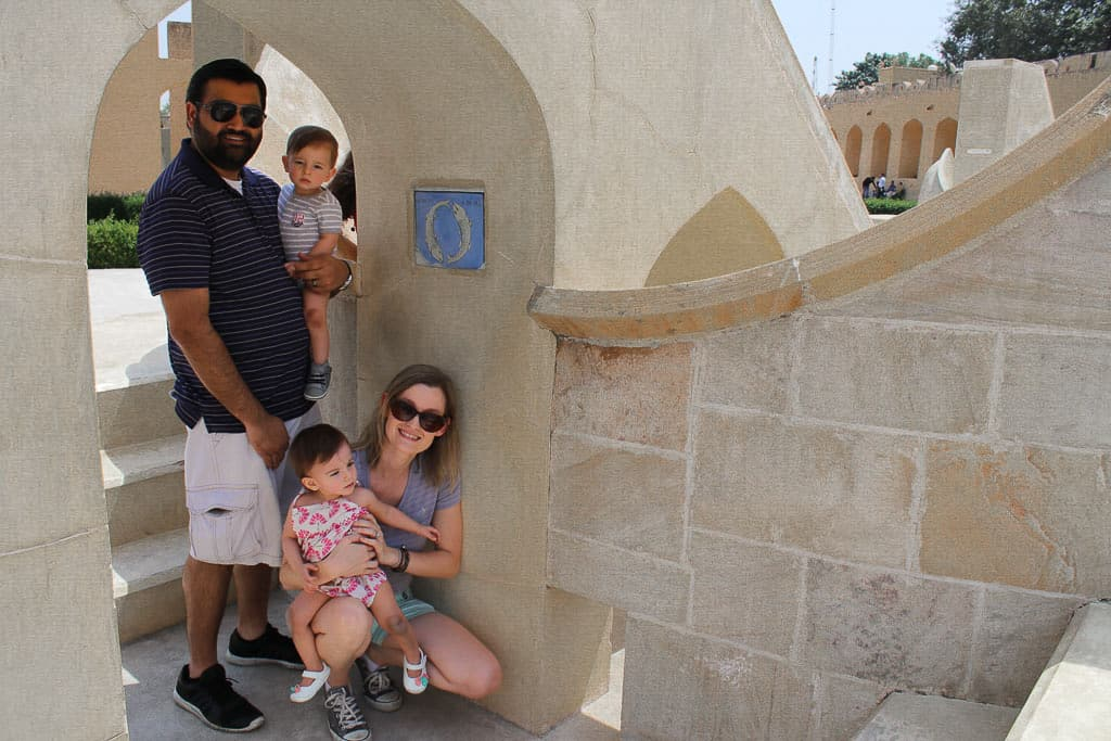 Our family photo taken curtesy of our tour guide in Jantar Mantar, Jaipur, India