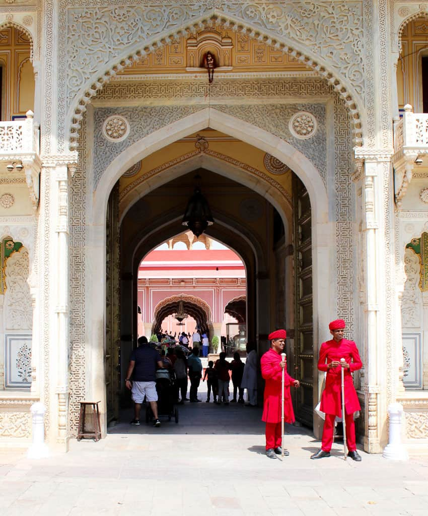 Guards at the gate of the city palace aka Jaipur Palace.