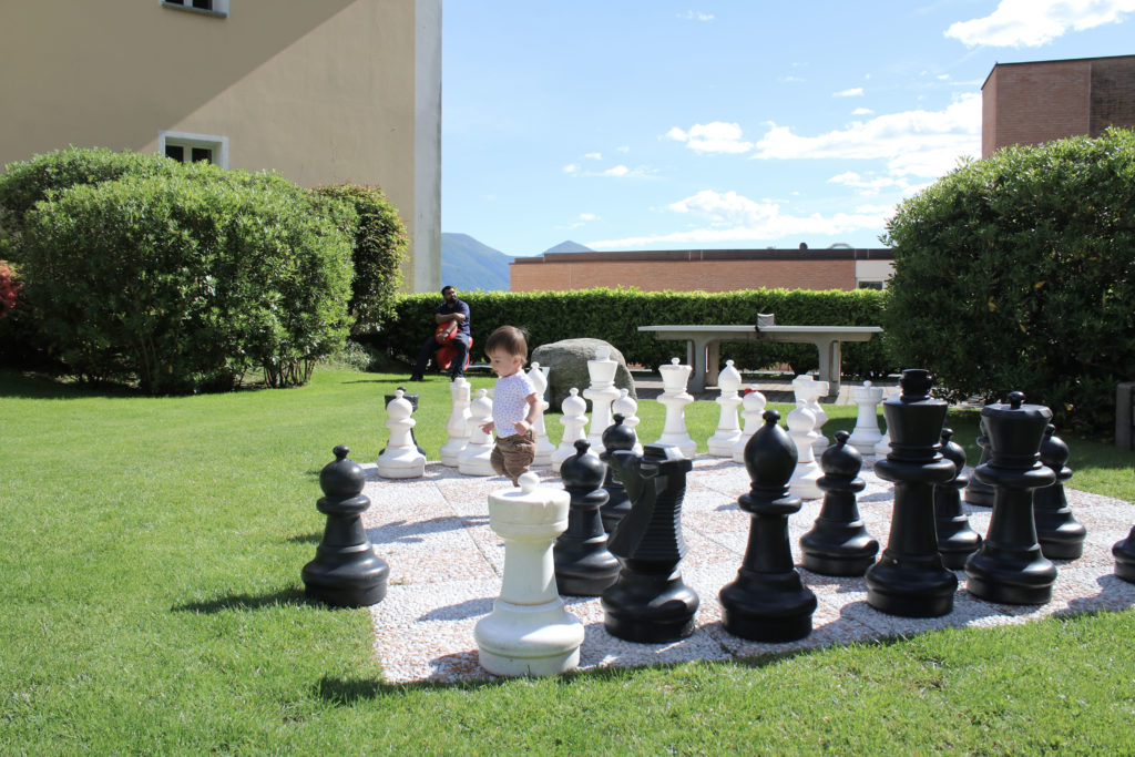 Giant chess board kept my toddlers occupied during our hotel stay. I enjoyed the scenic views while they played.