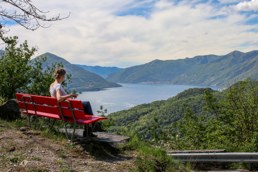 Viewing point along a mountainous drive overlooking lake maggiano