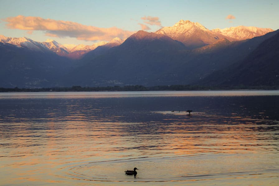 Beautiful Lake Maggiore at Sunset. Great spot for a family picnic.