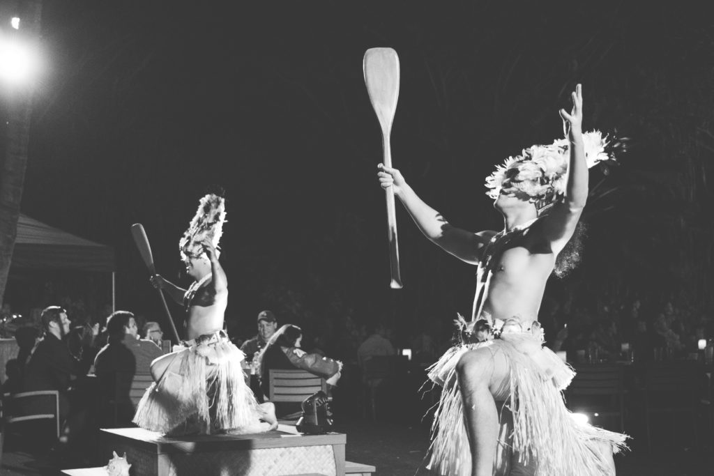 Two performers at the Disney Aulani Luau in Ko Olina