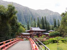 Bridge leading to Byodo-In Temple in Kaneoe, Hawaii's windward side.