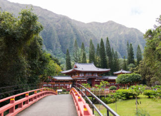 Bridge leading to Byodo-In Temple in Kaneoe, Hawaii's windward side.