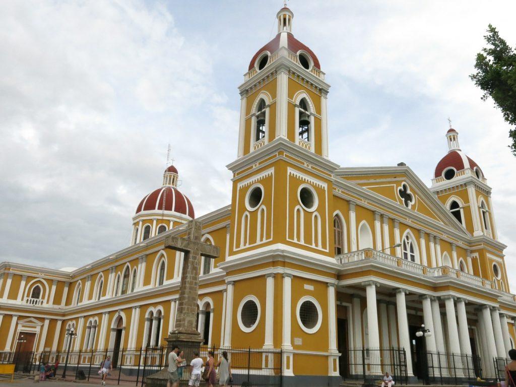 Corner view of a beautiful old church in Granada, Nicaragua