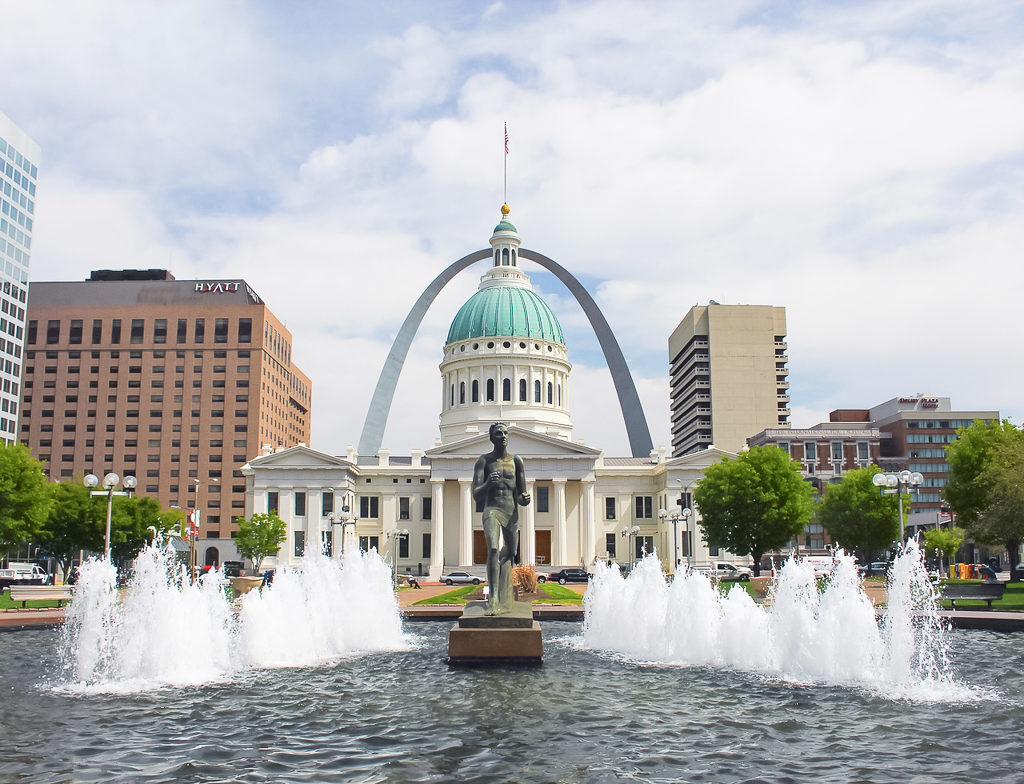 Travelling toddlers would love this fountain in downtown St Louis, Missouri