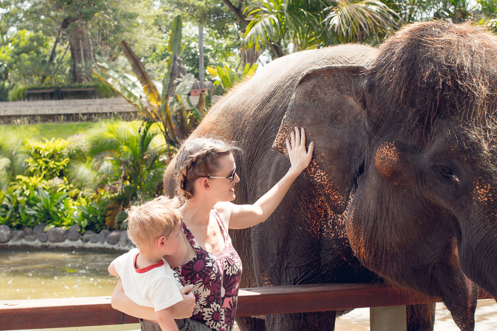 Mother holds toddler while touching a happy looking elephant at the Bali Zoo