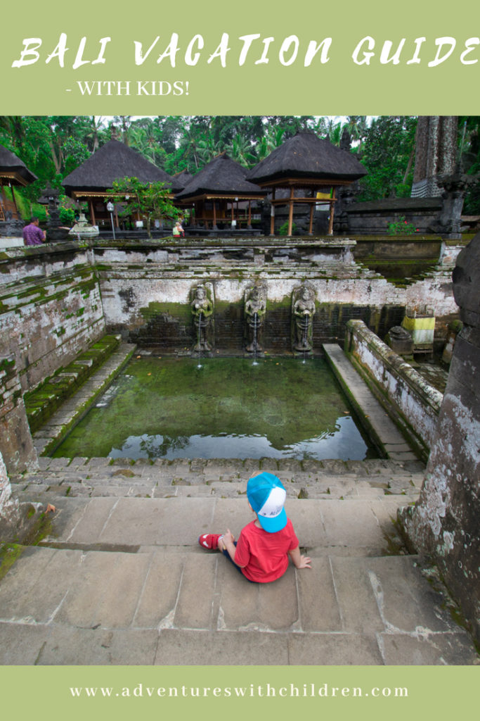 boy admires view in Bali - pinterest graphic