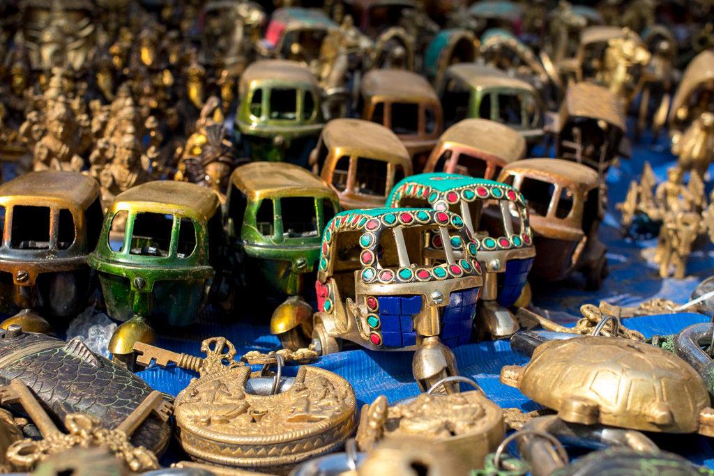 Metal handicrafts sold at a street market in Delhi.