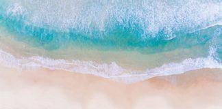 Drone shot of a beautiful beach on Oahu.