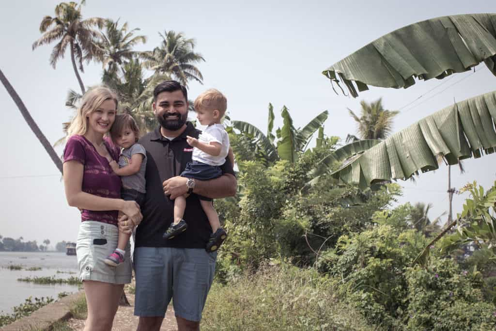 Family of four in shorts in Kerala. What to wear in India.
