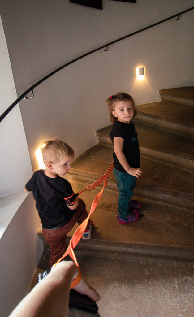 Mother follows twin toddlers around a castle in Copenhagen