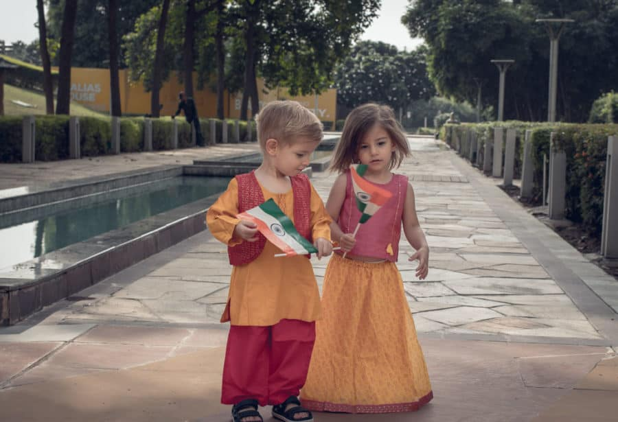 Toddlers dressed in beautiful Indian Ethic wear to celebrate Independence Day