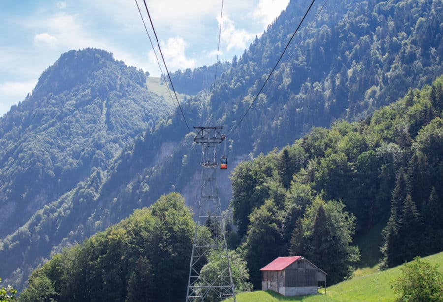 Gondolas leading up to the stoos switzerland