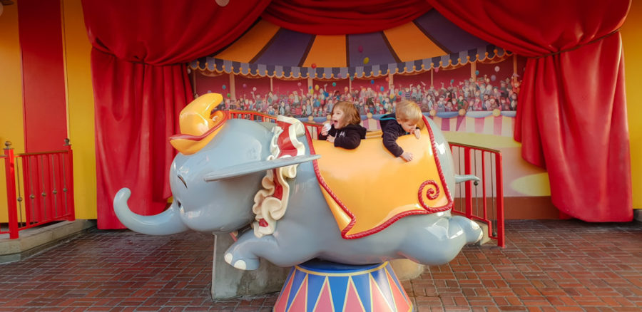 Toddler have fun playing on Dumbo at Walt Disney world.