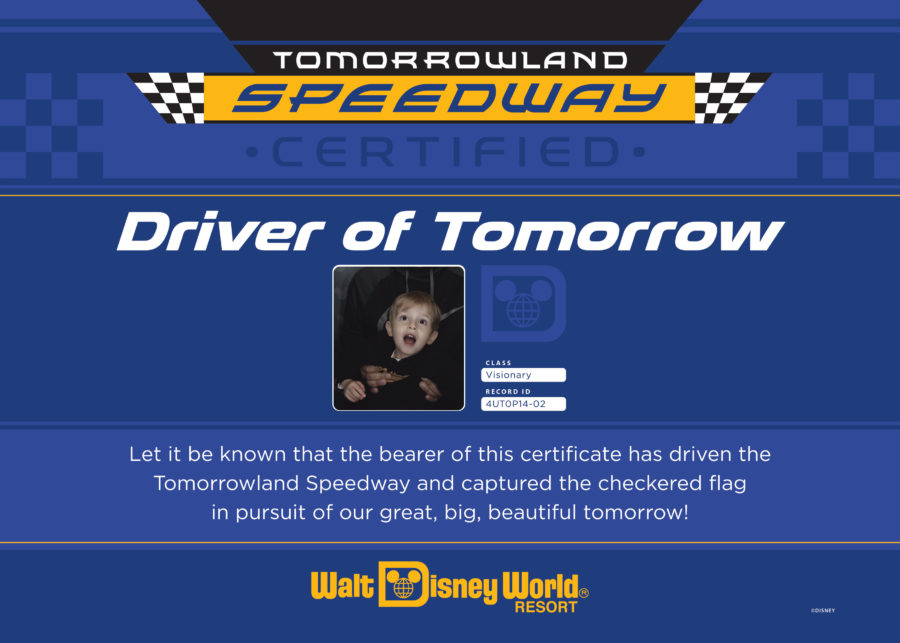 Driver of tomorrow license from a photo booth in Disney World.