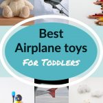Collage of the best toys for toddlers to carry onto an airplane.