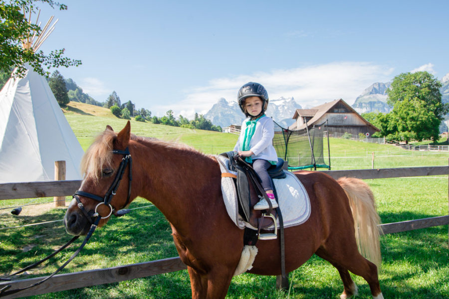 Two year old sits on a horse with swiss alps in the background.