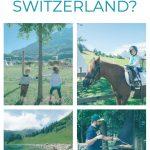 toddler rides a horse in the swiss alps in a family friendly resort.