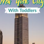 """Empire state building with text overlay text"""" """"New York City with toddlers"""""""