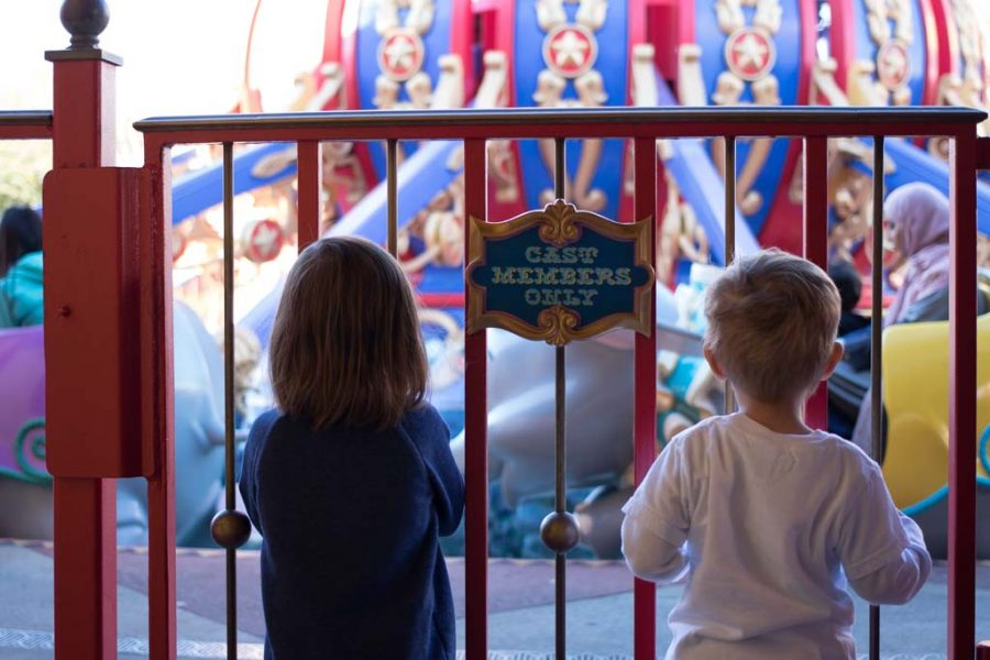Twin toddlers wait in a line at Walt Disney World