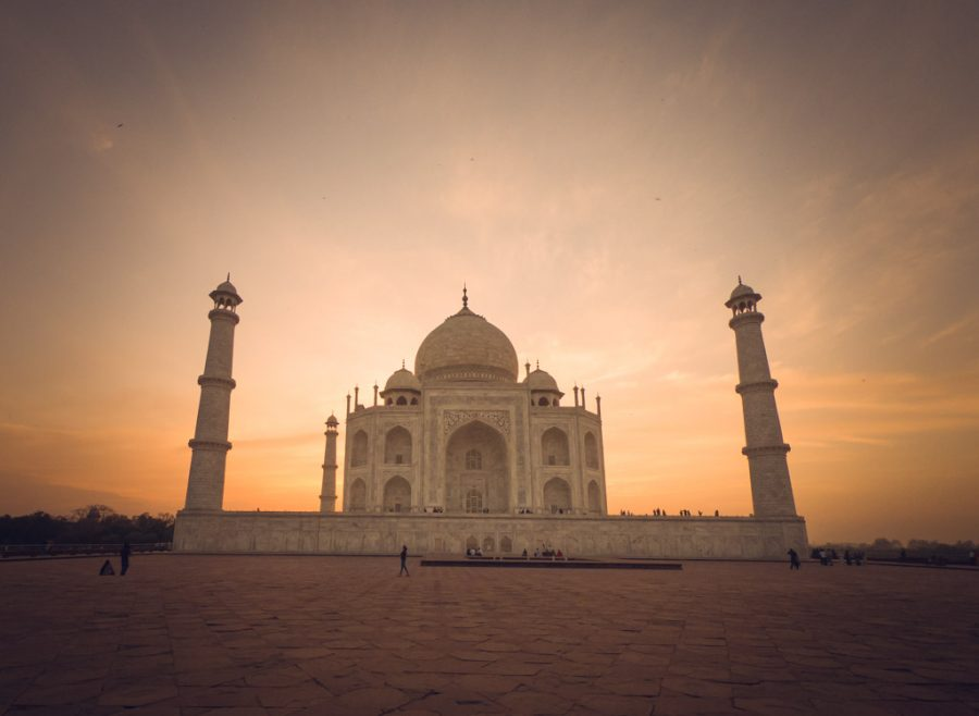 Taj Mahal at sunset appears golden due to the reflective nature of the marble.