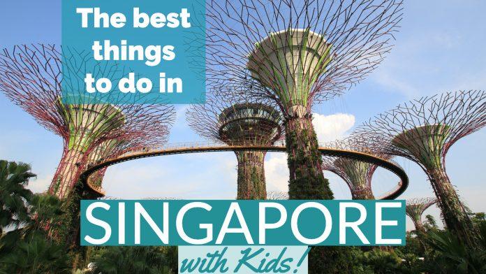 Artificial trees are connnected via a pedestrian bridge in Singapore