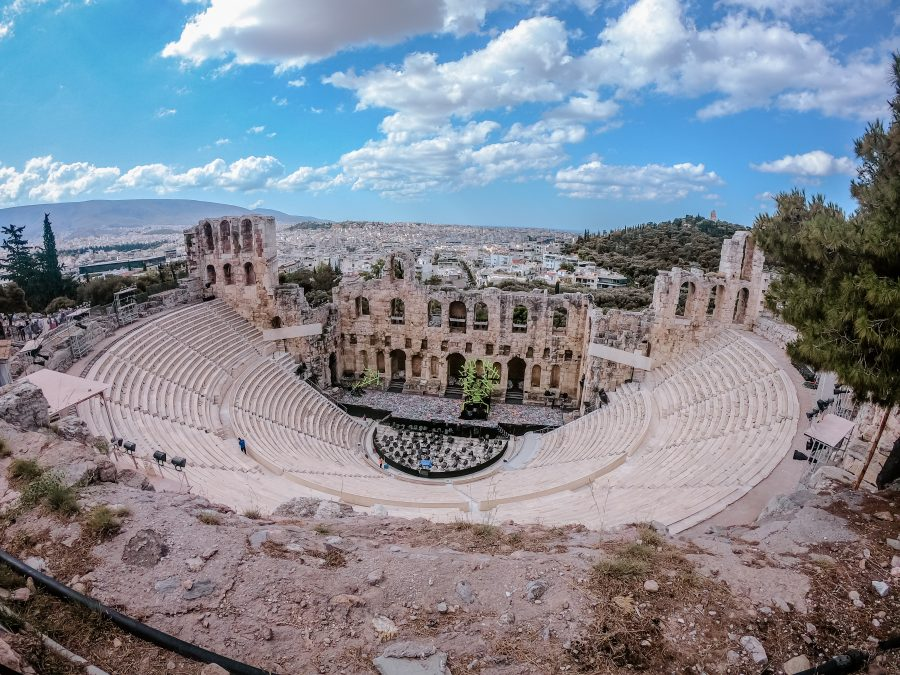 Wide-view of colosseum ruins in Athens